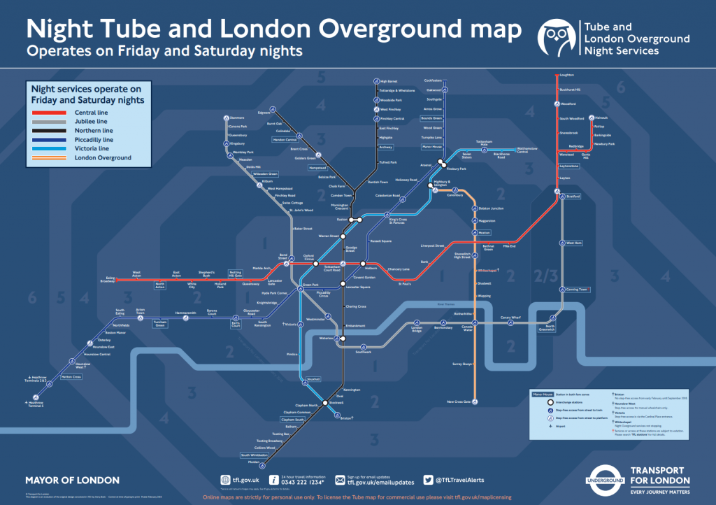 night tube and london overground map