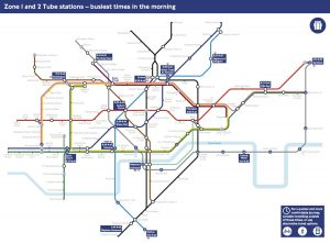 busy tube stations 300x221 - This London Tube map shows the busiest morning times for passengers using Zone 1 and Zone 2 stations