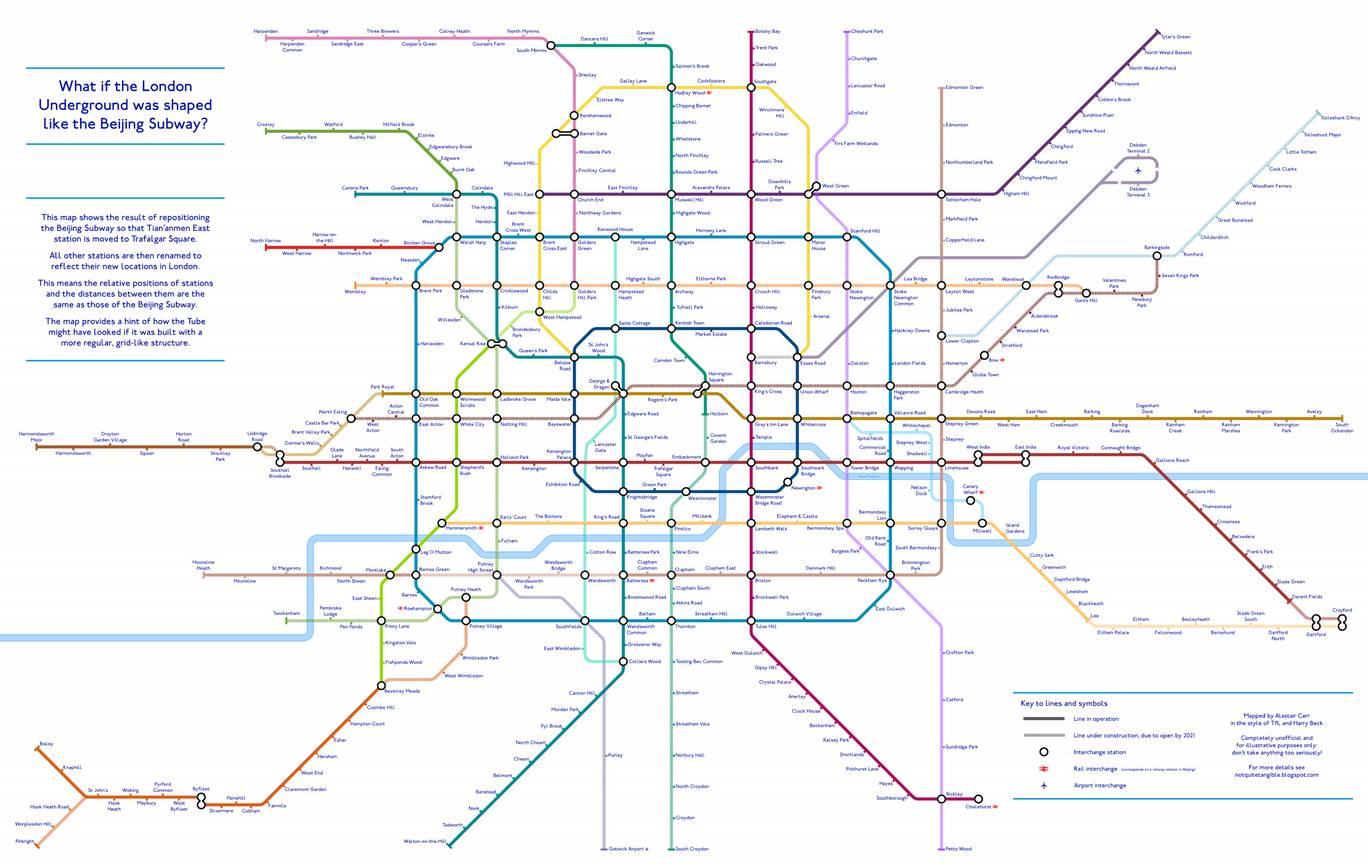 Beijing Subway Map 2021 Good Quality.An Alternative Tfl Tube Map Designer Creates Grid Like London