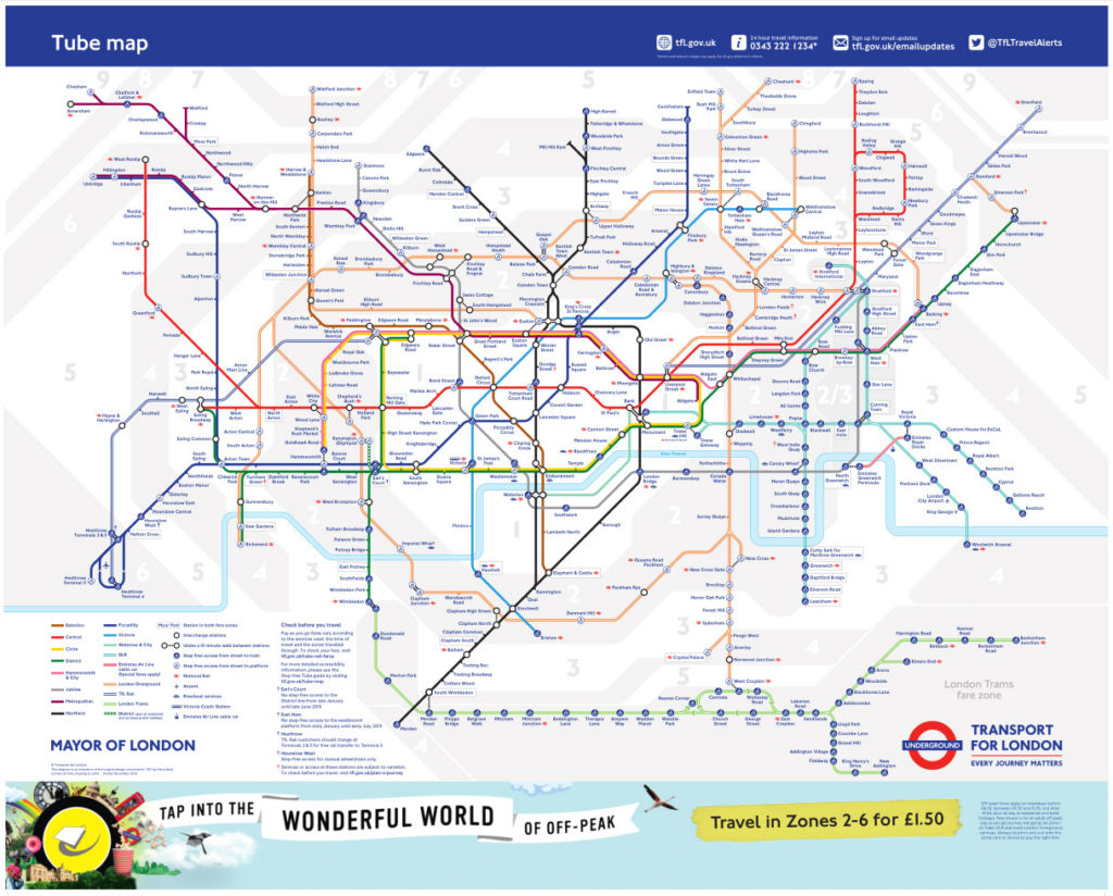 tube map december 2018 1024x824 - London Underground releases a new tube map