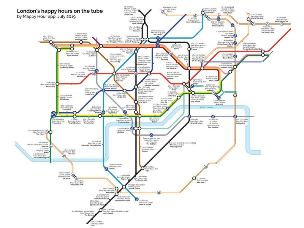 happy hour tube 2907a 1024x768 - This Tube map shows the nearest happy hour to each London Underground station