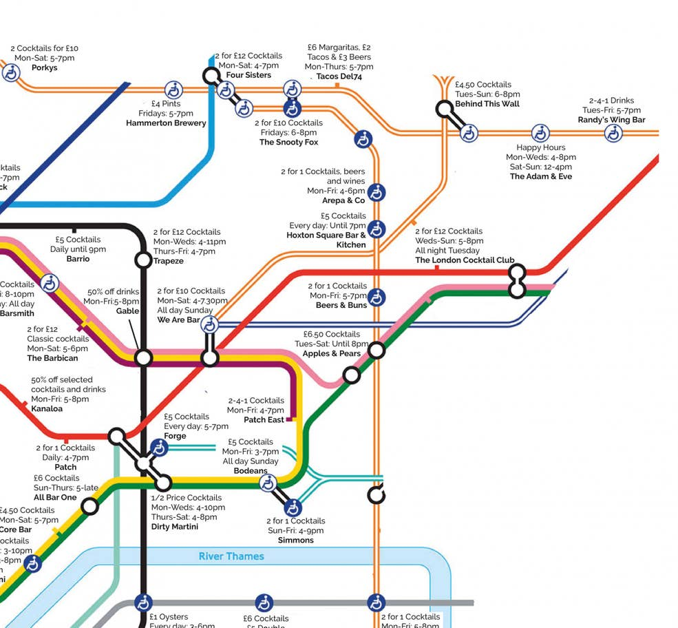 happy hour tube ne - This Tube map shows the nearest happy hour to each London Underground station