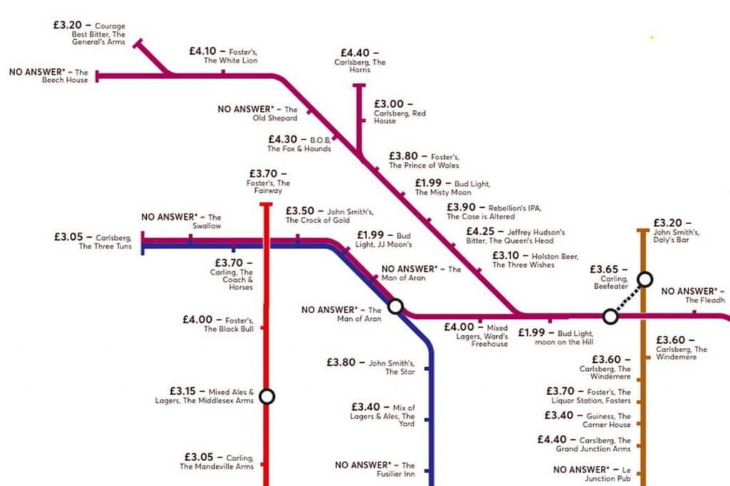 pubmap1 1024x683 - Redesigned Tube map shows cheapest pints of beer close to London stations