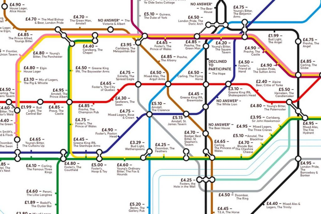 pubmap5 1024x683 - Redesigned Tube map shows cheapest pints of beer close to London stations